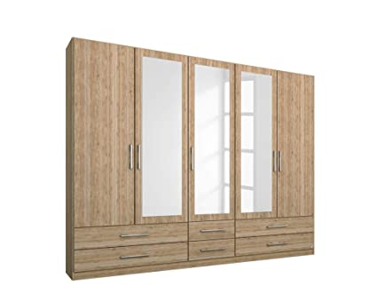 Kleiderschrank in Eiche Sanremo Nb., 5-turig, 3 Spiegelturen, 6 Schubkästen, 3 Elemente, 3 Böden, 3 Kleiderstangen, Maße: B/H/T ca. 226/210/54 cm