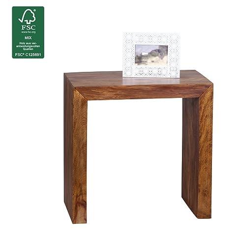 WOHNLING laterale in legno massiccio Sheesham 60 x 35 centimetri salotto disegno tavolo da caff marrone scuro stile country prodotto naturale Mobili Soggiorno unico vero legno moderni mobili in legno massiccio