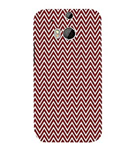 Maroon Chevron 3D Hard Polycarbonate Designer Back Case Cover for HTC One M8 :: HTC M8 :: HTC One M 8
