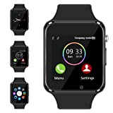 Bluetooth Smart Watch - Aeifond Touch Screen Sport Smart Wrist Watch Smartwatch Phone Fitness Tracker with Camera Pedometer SIM TF Card Slot for Samsung Android iPhone iOS for Men Women Kid (Black) (Color: Black)