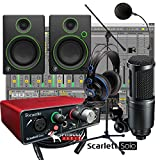 Focusrite Scarlett Solo Home Recording Studio Bundle w/ Mackie CR4 AT-2020 Mic