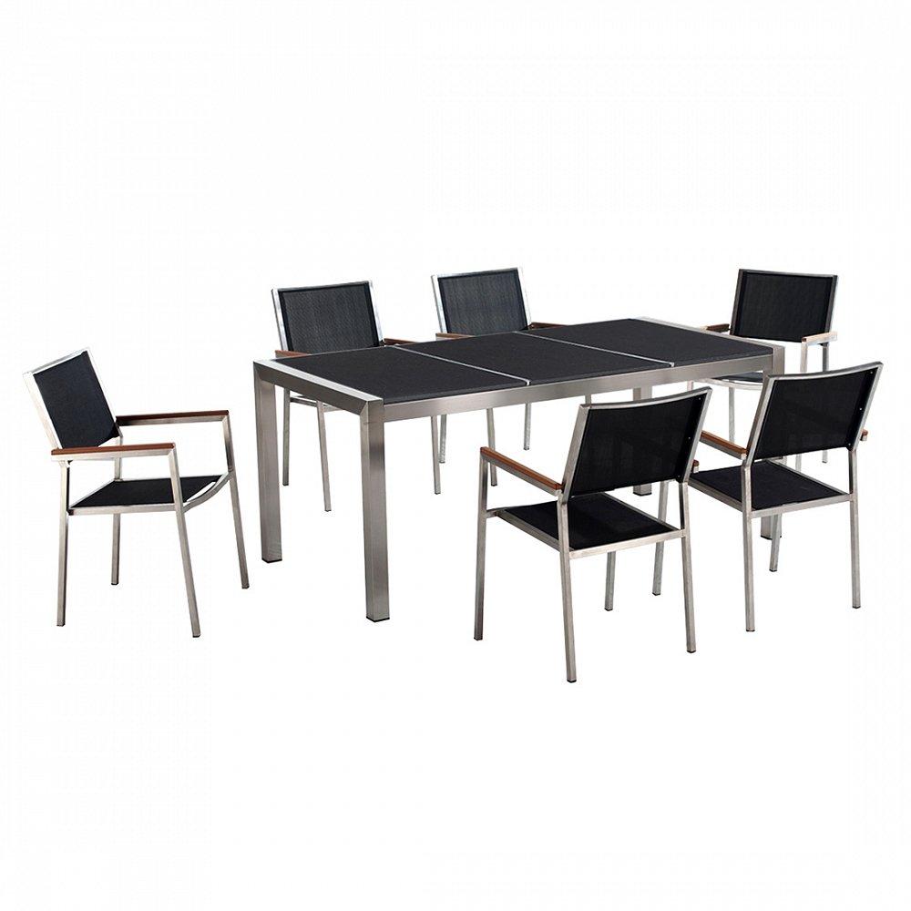Gartenmöbel schwarz poliert - Granit Edelstahltisch 180cm dreifach mit 6 x Stühle mit Textilsitzfläche - GROSSETO
