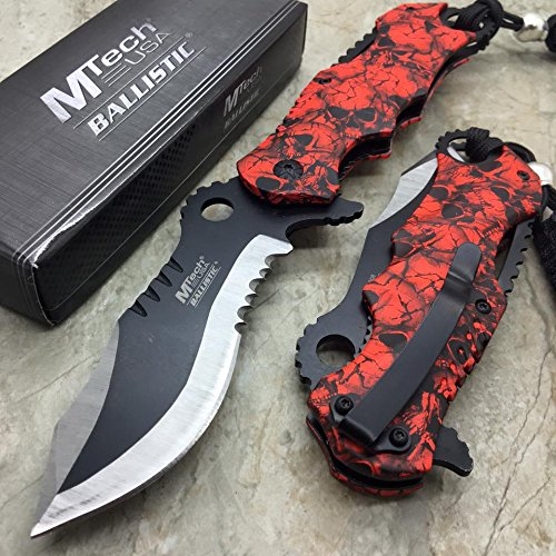 "M-tech Assisted Opening Rescue Red Skull Design for Hunting or Camping Tatical Pocket Knife 3.5"" 2 Tone Half Serrated Stainless"