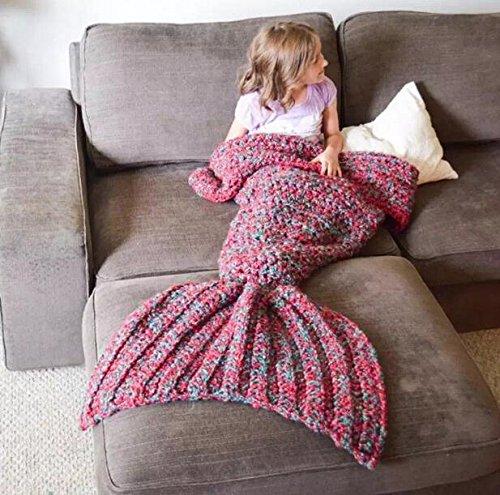 Creative Fashion Meerjungfrau Schwanz Decke Klimaanlage Decke Sofa Decke Strickdecke Single Büro Casual Schlafunterlage, Rot, L