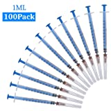100Pack-1ml Syringes with Needles and Caps,Veterinary disposable syringe,Single sterile individually packaged (1ml-100)