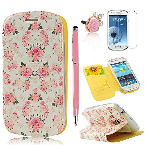 (Not For S3)S3 Mini Case, Galaxy S3 Mini Case - Mollycoocle Fashion Style Painted Colorful Flowers Pattern Credit Card Holder Case Flip Folio Pu Leather Cover Standup Cover Case For Samsung Galaxy S3 Mini I8190(Package Includes: One Phone Case, One Stylus