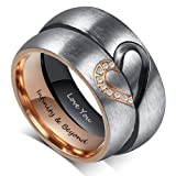 Fortheday Personalized Mens and Womens Promise Rings Set Free Engraving Stainless Steele Engagement Wedding Rings Band Set for Couples (Black+Rose Gold (Rings Set 2pcs)) (Color: Black+Rose Gold (Rings Set 2pcs))