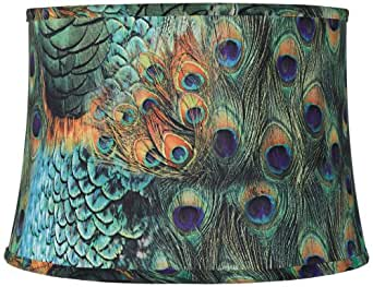 Peacock Print Drum Lamp Shade 14x16x11 Spider