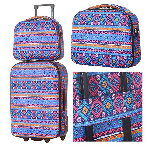DAVIDJONES Vintage Print 4 Piece Luggage Set 4