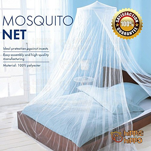 HIPPIE HIPPO Round Hoop Bed Canopy Netting Mosquito Bedding Net Fit Crib Twin Full Queen King White 1 Opening (Insect Netting For Auto Windows compare prices)