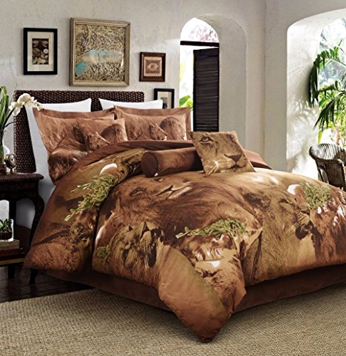 Printed Safari African Lion Comforter Set, Queen