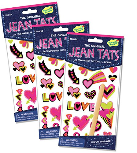 Peaceable Kingdom Jean Tats Hearts Temporary Tattoos for Fabric - 3 Pack