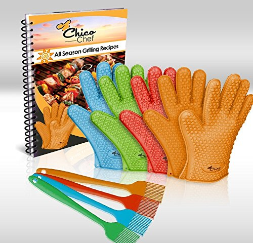 New BIG SALE TODAY! - Premium Silicone BBQ Grill & Cooking Gloves - Heat Resistant - Bundle Incl...