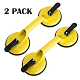 Heavy Duty Suction Cup Aluminum Vacuum Plate Double Handle Professional Glass Holder Hooks Mover Puller Lifter Gripper for Moving Large Glasses Mirror Granite Repair laminate floor gap fixer (2 Pack) (Color: Yellow2, Tamaño: 13 x 4.8 x 4.5 inches)