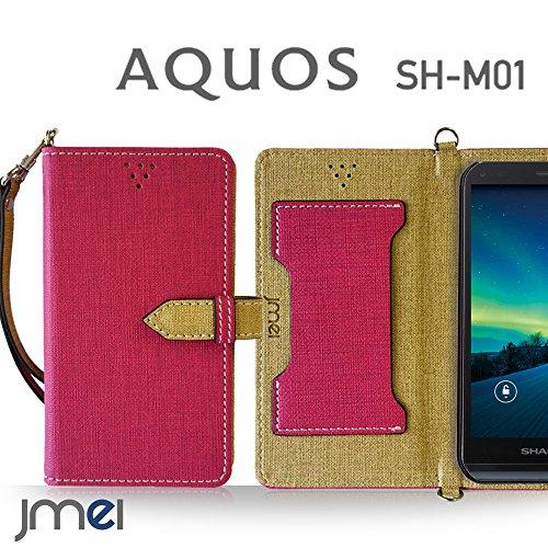 AQUOS SH-M01 ケース JMEIオリジナルカルネケース VESTA ホットピンク 楽天モバイル simフリー アクオス スマホ カバー スマホケース 手帳型 ショルダー スマートフォン