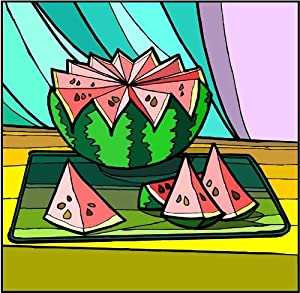 Sliced Watermelon - Etched Vinyl Stained Glass Film, Static Cling Window Decal