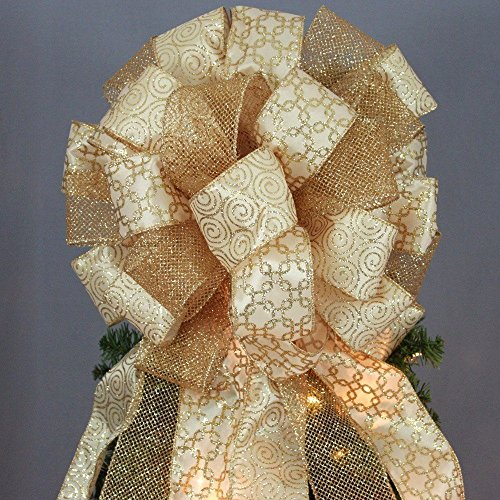 Antique Gold Sparkle Mesh Swirl Christmas Tree Topper Bow - 13
