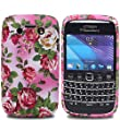 JJOnline BlackBerry Bold 9790 - Hot Pink / Green Rose Flower Series Silicone Gel Mobile Phone Case Cover