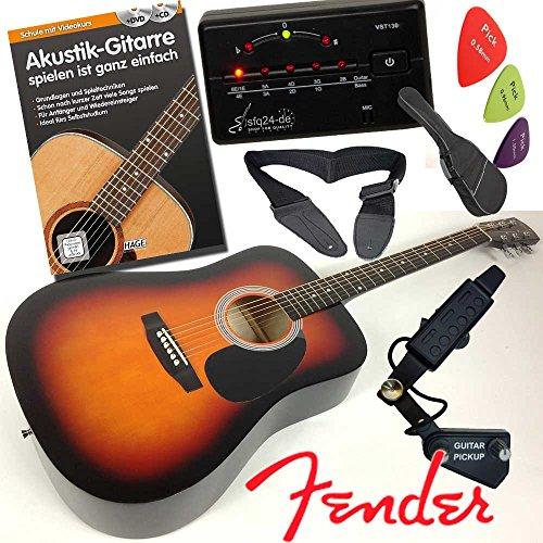 """Fender Squier Akustik-Westerngitarre Set, in Dreadnought Form, Farbe Sunburst mit Schalloch-Tonabnehmer """"Amp-Ready"""" zum verstärken oder PC-Aufnahme, mit Lehrbuch mit CD und DVD, Rucksacktasche, LED-Stimmgerät, Gitarrengurt und mehr"""