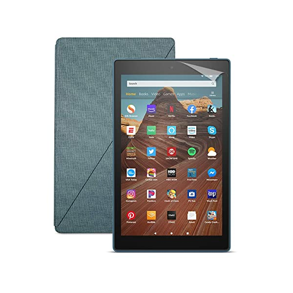 Fire HD 10 Tablet (32 GB, Twilight Blue, With Special Offers) + Amazon Standing Case (Twilight Blue) + Nupro Screen Protector (2-pack) (Color: Twilight Blue)