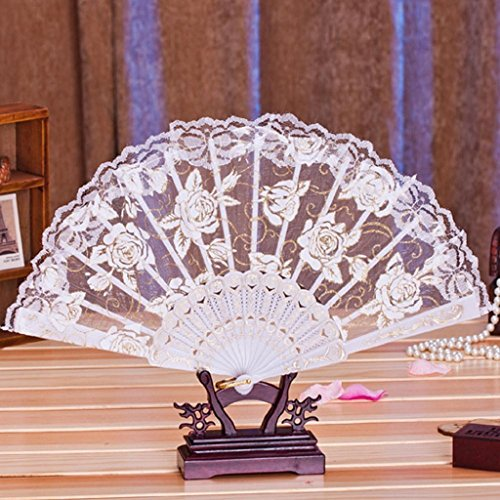 Mikey Store 1PC Multi-color Dance Party Wedding Lace Flower Folding Hand Held Flower Fan (White)