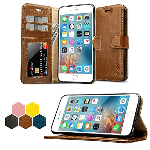 iPhone 6S Plus Wallet Case, Labato Genuine Leather Folio Flip Case Cover Magnetic Stand Function with Card Slots/Cash Compartment for Apple iPhone 6 Plus/ 6S Plus 5.5