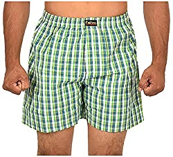 CALICO Men's Cotton Boxers (CAL_14_S, Green and Off-White, S)