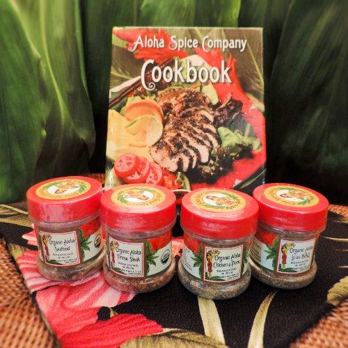 Aloha Spice Company Gourmet Organic Seasoning & Rub Gift Set with Hawaiian Cookbook image