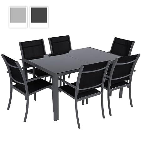 Miadomodo - Muebles para jardín (7 piezas, mesa de cristal y 6 sillas de aluminio), color gris