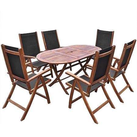 vidaXL 7tlg. Holz Essgruppe Sitzgruppe Gartenmöbel Sitzgarnitur Tisch Klappstuhl Akazie