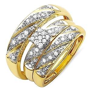 0.32 Carat (ctw) 10k Yellow Gold Round Diamond Ladies & Mens Bridals Trio Set 1/3 CT (Size 8.5)