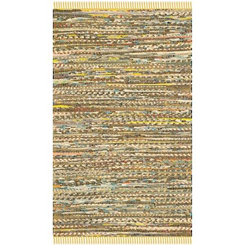 Safavieh Rag Rug Collection RAR121H Hand Woven Yellow and Multi Cotton Area Rug, 3 feet by 5 feet (3' x 5')