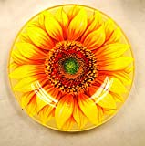 """Manual Garden Party Collection Round Glass Plates Sunflowers IGSPSFL 6"""" Set of 12 Yellow"""