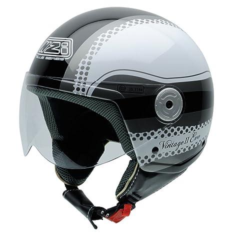 NZI 150251G258 Vintage II BW Casque de Moto, Noir/Blanc, Taille : XL