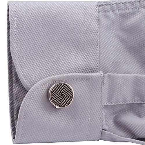 Hj men 39 s jewelry cuff link round gray button cover apparel for Mens dress shirt button covers