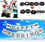 JINSELF 婚約フォトプロップス 【超大量55本】 英国ガーランドセット 大人数の結婚式 一生に残す写真 撮影セット インテリア 【フォトプロップス55本】