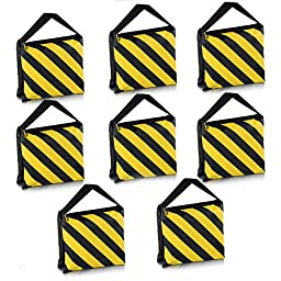Neewer® 8 Pack Dual Handle Sandbag, Black/Yellow Saddlebag for Photography Studio Video Stage Film Light Stands Boom Arms Tripods