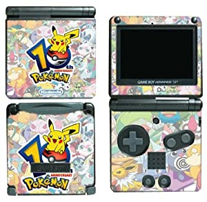 Pokemon 10th Anniversary Black and White 2 Video Game Cartoon Show Movie Vinyl Decal Cover Skin Protector for Nintendo GBA SP Gameboy Advance Game Boy