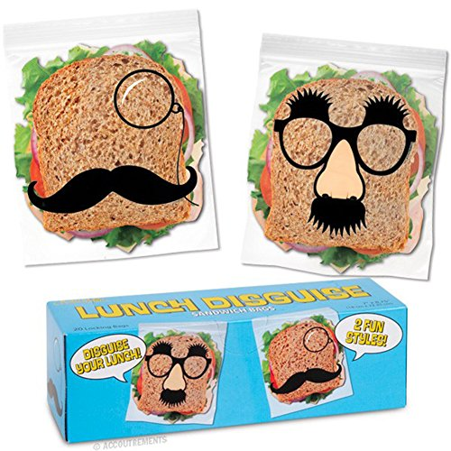 20 Lunch Disguise Locking Novelty Sandwich Bags