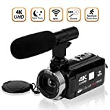 Video Camera Camcorder 4K Ultra HD Digital Camera WiFi Video Camcorder 3.0 inch Touch Screen Night Vision Vlogging Camera with External Microphone (Color: V4B)