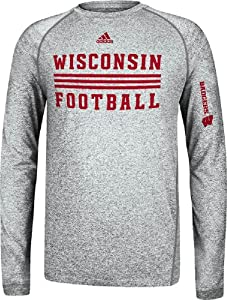 Wisconsin Badgers Sidelines Evade Heather Grey Climalite Long Sleeve Shirt by Adidas by adidas