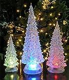 "LED Lighted Acrylic Christmas Trees Holiday Decoration Set of 3 Assorted Sizes 10"", 7.5"" & 5.5""H"