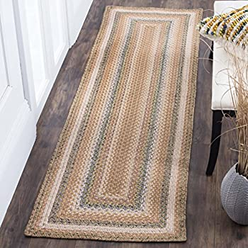 "Safavieh Braided Collection BRD314A Hand Woven Tan and Multi Runner (23"" x 8)"