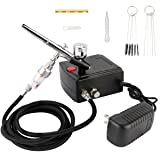 Airbrush Kit,Fy-Light Dual-Action Air Brush Set with Mini Compressor 0.3mm Needle 7CC Cup & Cleaning Kit for Makeup,Nail, Hobby, Craft, Cake Decorating, Tattoo (Color: Black, Tamaño: 130A Gun+0.3M Needle)