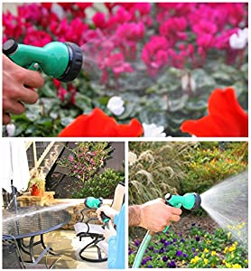 NO LEAK GARDEN HOSE NOZZLE - Heavy Duty, ALL Metal Water Sprayer for Powerful Watering - Versatile 7 Pattern Spraying For Cleaning, Car Washes, Misting and More! NO PLASTIC Plus Satisfaction Guarantee