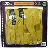 Leather Premium Work Gloves 3 pair Pack - Large