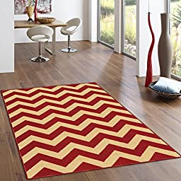 Rubber Backed 2-Piece Rug SET Rich Chevron Red & Beige Zig Zag Area Non-Slip Rug - Rana Collection Kitchen Dining Living Hallway Bathroom Pet Entry Rugs RAN2060-2PC