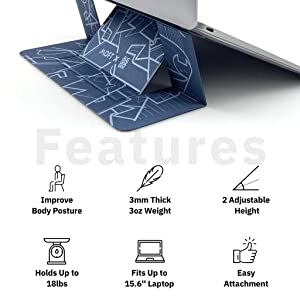 MOFT Laptop Stand, Invisible Lightweight Laptop Computer Stand, Compatible with MacBook, Air, Pro, Tablets and Laptops up to 15.6, Patented (ALEGIORGINI01) (Color: ALEGIORGINI01)