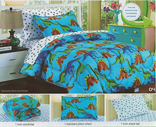 Kid's Comforter Sheet Set, Boy's Blue Dinosaurs Bedding Set, Bed in a Bag, 5 Pieces, Twin Size