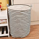Collapsible Ramie Cotton Laundry Hamper,Folding Lanudry Bag,Stripe Black